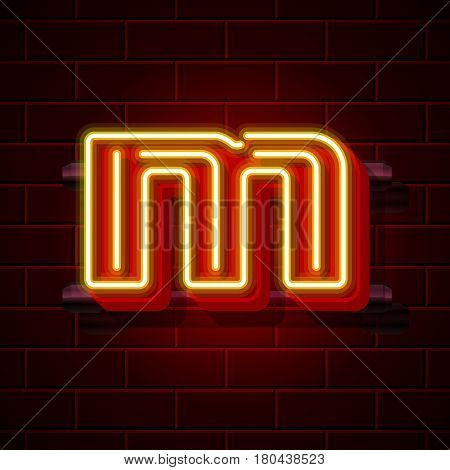 Neon city font letter M signboard. Vector illustration collection