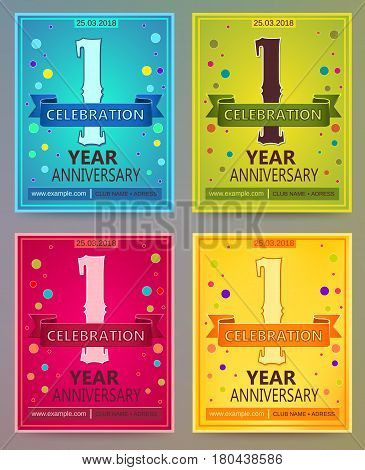 Anniversary flyers or invitations vector templates. Blue, green, pink and yellow as winter, spring, autumn, summer. Banner, card or invitation layout for anniversary celebrating. 1. One year