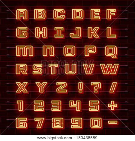 Neon font city. Neon red font english. City alphabet font. Vector illustration collection