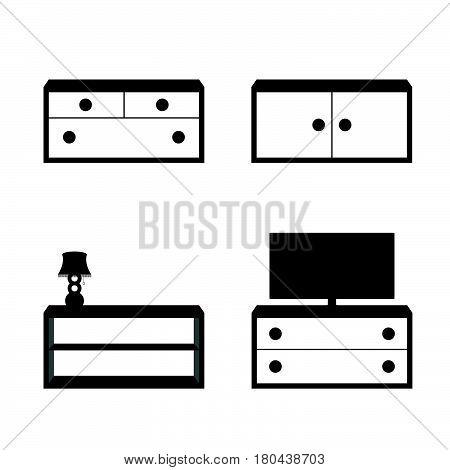 Furniture Set In Black And White Color Illustration