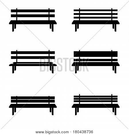 Park Benches Set In Black Color Illustration