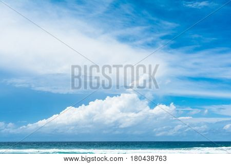The view of blue sky with white cumulus clouds in sunne day on the beach in Gold Coast, Australia