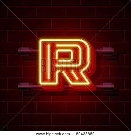 Neon city font letter R signboard. Vector illustration collection