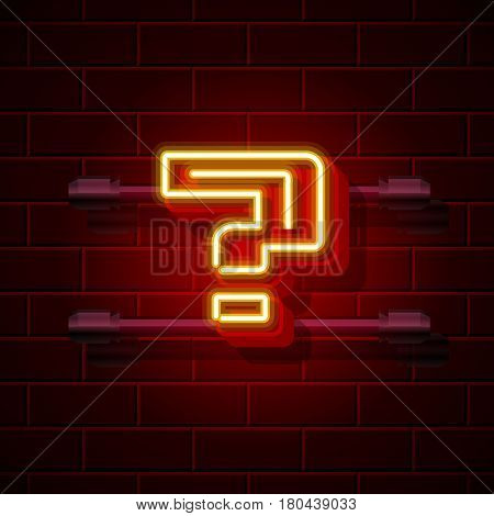 Neon question symbol. City signboard. Vector illustration collection