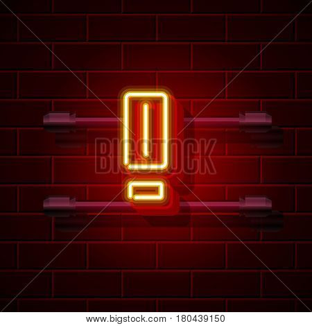 Neon exclamation symbol. City signboard. Vector illustration collection