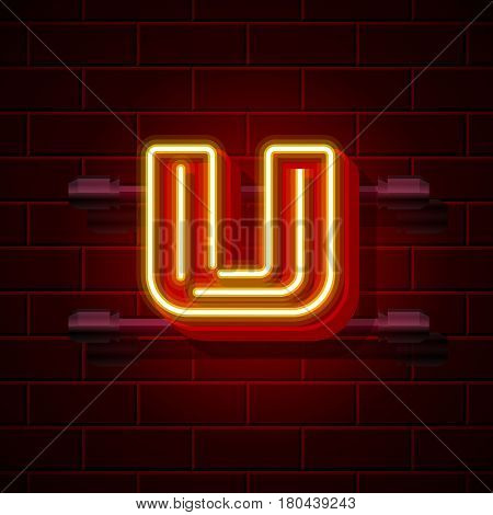 Neon city font letter U signboard. Vector illustration collection