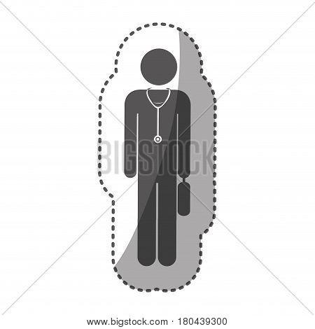 sticker monochrome silhouette pictogram doctor with stethoscope and portfolio vector illustration