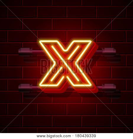 Neon city font letter X signboard. Vector illustration collection
