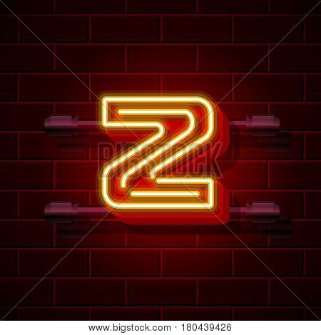 Neon city font letter Z signboard. Vector illustration collection