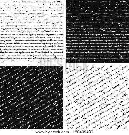 Set of four Seamless abstract text patterns.