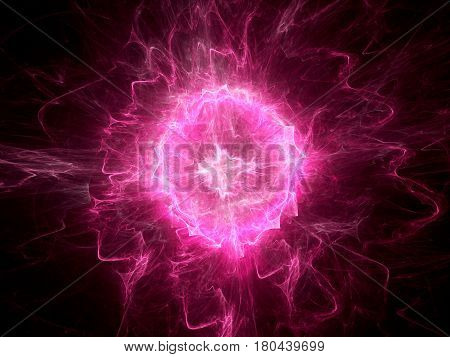 Purple glowing fireball lightning computer generated abstract background 3D rendering