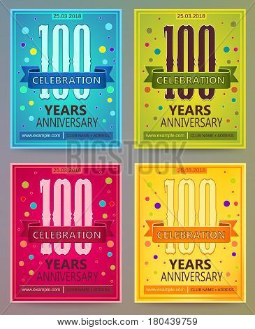 Anniversary flyers or invitations vector templates. Blue, green, pink and yellow as winter, spring, autumn, summer. Banner, card or invitation layout for anniversary celebrating.