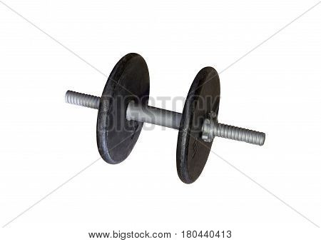Iron dumbell weights against a white background.