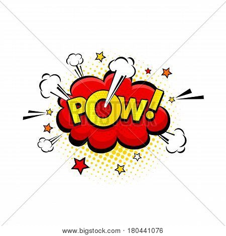 Comic Speech Bubble With Expression Text Pow! And Stars With Halftone. Vector Bright Dynamic Cartoon