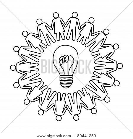 silhouette teamwork human people circle with ligth bulb vector illustration