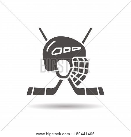 Hockey game equipment icon. Drop shadow silhouette symbol. Hockey sticks and helmet. Negative space. Vector isolated illustration