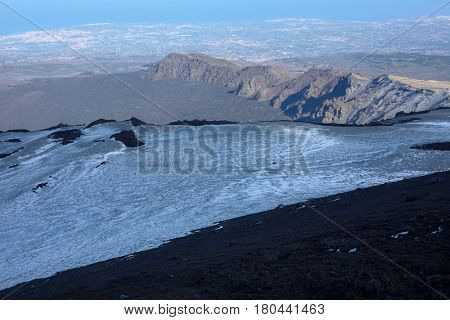 valley, volcanic ridge and Ionian coast from altitude of 2600 m. in Etna Park, Sicily