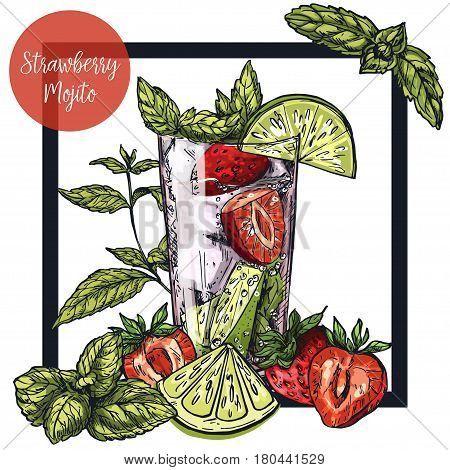 Square framed card with strawberry mojito with lime and strawberries, surrounded by mint leaves, vector realistic colorful sketch illustration