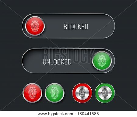 set of sliders switches and buttons red and green. Templates for the black interface site or application with a fingerprint for locking and unlocking. Vector illustration