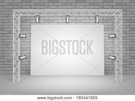 Vector Empty Blank White Mock Up Poster Picture Standing on Floor with Gray Brick Wall and Spotlights Illumination Front View