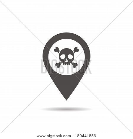 Danger zone icon. Drop shadow map pointer silhouette symbol. Crossbones pinpoint. Vector isolated illustration