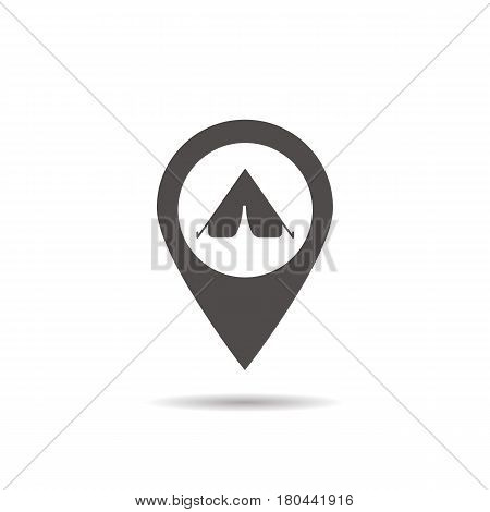 Camp location icon. Drop shadow map pointer silhouette symbol. Tourist's tent town pinpoint. Camping zone nearby. Vector isolated illustration