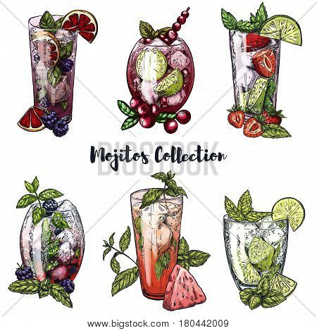 Set of six colorful sketches of different mojito cocktails, vector illustrations, collection with cranberries, blackberries, strawberries, mint, lime and blood orange slices