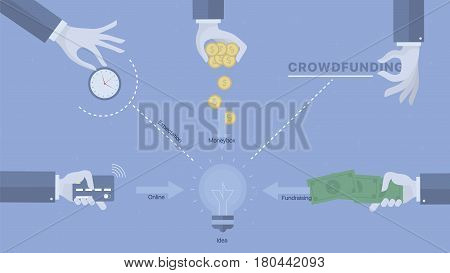 Crowdfunding process background. Concept business vector for investing into ideas, creative innovative work, growing business. Flat illustration with thin broken line.