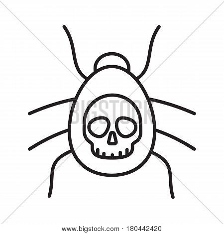 Poisonous spider linear icon. Thin line illustration. Danger bug. Computer virus contour symbol. Vector isolated outline drawing
