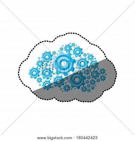 sticker blue color pinions and gears set collection vector illustration