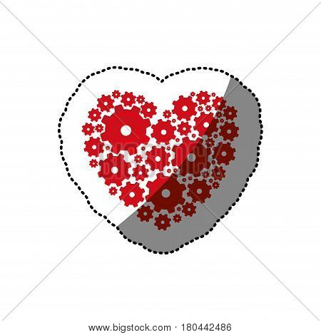 sticker red heart shape with pinions and gears set collection vector illustration
