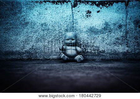 Spooky doll in haunted house,Scary background for book cover
