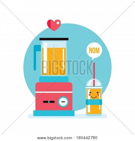 Blender and fresh smoothie juice in the glass Vector illustration
