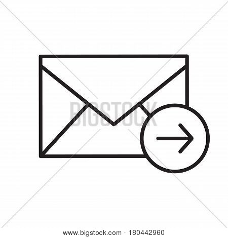 Send message linear icon. Thin line illustration. Email letter contour symbol. Vector isolated outline drawing