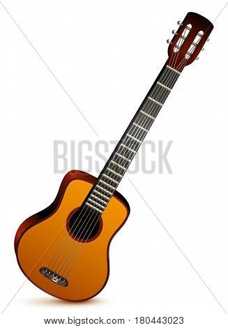 Six stringed acoustic guitar musical instrument. Isolated on white vector illustration