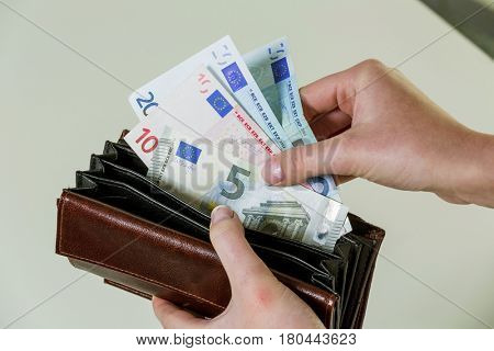 wallet with euro notes