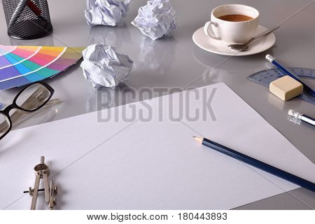 Office Desktop New Plan Concept In Business Elevated View