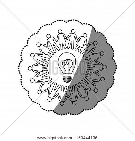 sticker silhouette teamwork human people circle with ligth bulb vector illustration