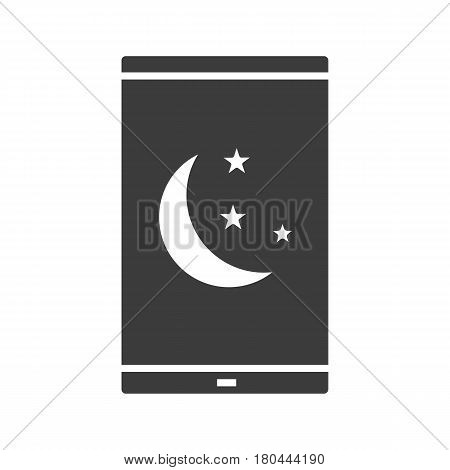 Smartphone night mode icon. Silhouette symbol. Smart phone with moon and stars. Negative space. Vector isolated illustration