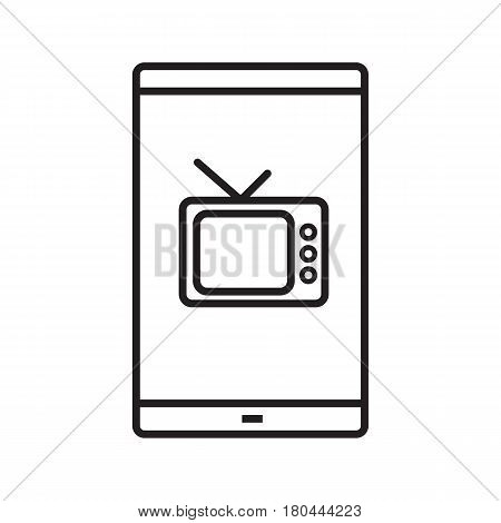 Smartphone television app linear icon. Thin line illustration. Smart phone with tv set contour symbol. Vector isolated outline drawing