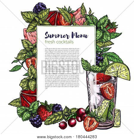 Colorful realistic frame composed of vector berries (cranberry, strawberry, blackberry) blood orange and lime slices and mint leaf, rectangular vertical place for text. Strawberry mojito.
