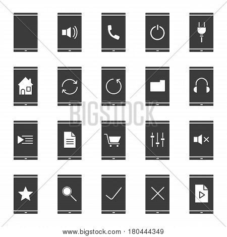 Smartphone apps icons set. Silhouette symbols. Home page, playlist, listen to music, media file, folder, rate, refresh, mute on and turn off buttons. Vector isolated illustration