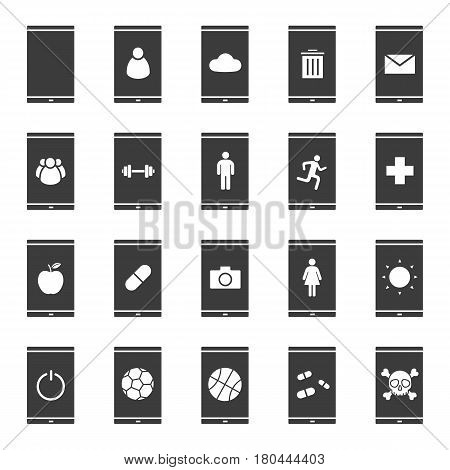 Smartphone apps icons set. Silhouette symbols. Smart phone users, photo camera, energy, cloud storage, email, trash, turn off button, sport and medical apps. Vector isolated illustration