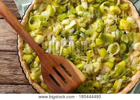 Freshly Baked Savory Leek Pie With Cheese Close-up. Horizontal Top View