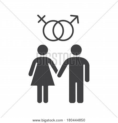 Heterosexual couple icon. Silhouette symbol. Man and woman. Mars and Venus signs. Sex and relationship. Negative space. Vector isolated illustration