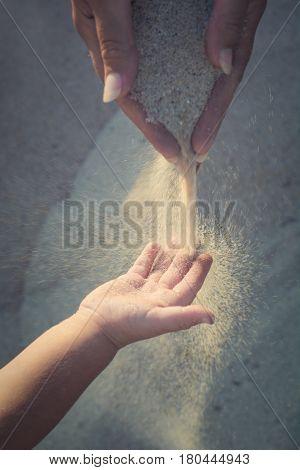 Sand On Little Hand