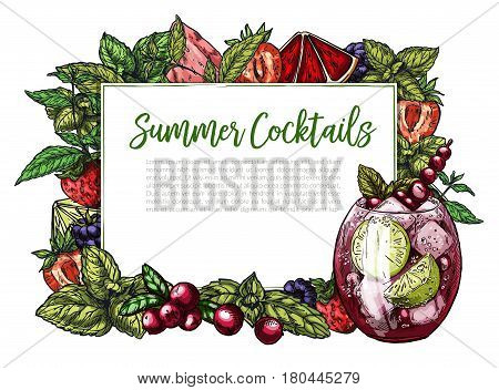 Colorful realistic frame composed of vector berries (cranberry, strawberry, blackberry) blood orange and lime slices and mint leaf, rectangular frame for text. Cranberry mojito.