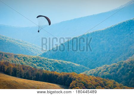 Shadow Figure Of Flying Paraglide In A Sky