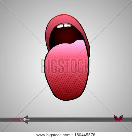 Girl, Woman Showing Tongue. Icon Isolated On White Background.