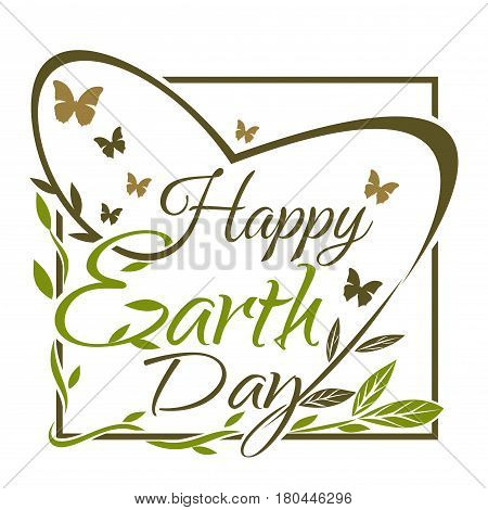 Happy Earth Day. Typographic design. Green and gold lettering card. Vector illustration isolated on white background
